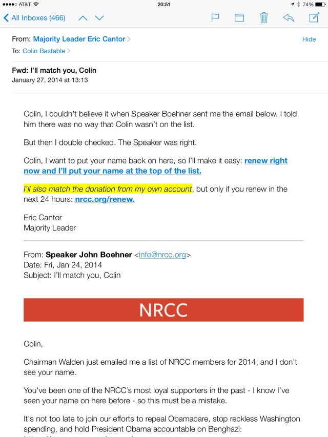 Now Eric Cantor loves me! Not.