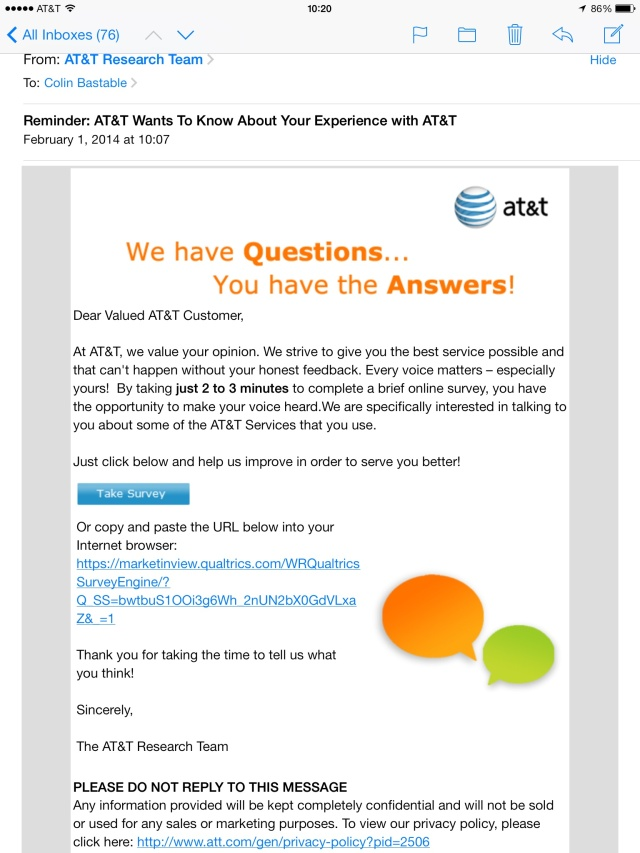 AT&T think they want to know what I think